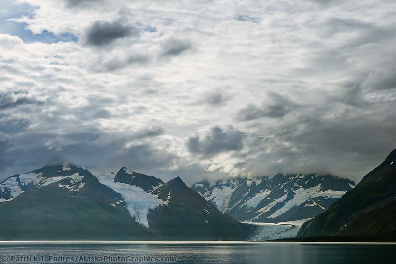Cataract and Surprise glacier, Chugach National Forest, Chugach mountains, Prince William Sound, Alaska.