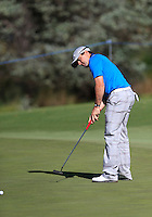 Simon Houston (AUS) on the 9th green during Round 1 of the ISPS HANDA Perth International at the Lake Karrinyup Country Club on Thursday 23rd October 2014.<br /> Picture:  Thos Caffrey / www.golffile.ie
