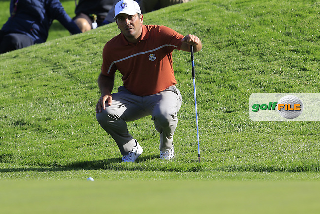 Francesco Molinari (Team Europe) at the 9th green during Saturday's Foursomes Matches at the 2018 Ryder Cup 2018, Le Golf National, Ile-de-France, France. 29/09/2018.<br /> Picture Eoin Clarke / Golffile.ie<br /> <br /> All photo usage must carry mandatory copyright credit (© Golffile | Eoin Clarke)
