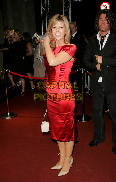 KATE GARRAWAY.The British Academy Television Awards 2008 after party held at the Grosvenor House Hotel,London, England..April 20th, 2008 .BAFTA BAFTA's full length red silk satin dress off the shoulder .CAP/AH.©Adam Houghton/Capital Pictures.