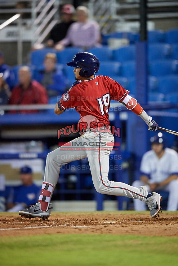 Fort Myers Miracle shortstop Nelson Molina (19) follows through on a swing during a game against the Dunedin Blue Jays on April 17, 2018 at Dunedin Stadium in Dunedin, Florida.  Dunedin defeated Fort Myers 5-2.  (Mike Janes/Four Seam Images)