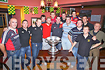 The Magners League Trophy pays a visit to Franks Corner Bar in Cahersiveen on Thursday night last pictured here with the trophy some of the Iveragh Eagles Senior team l-r; Sean O'Sullivan, Seamus Curran, Michael O'Shea, Johnny O'Shea, Fergus Keating, John O'Connell, Jonathan McShane, Fionán McCarthy, Kieran O'Sullivan, Dan O'Connell, Dan Riordan, Joe Moore, Geoffrey Quirke & Brendan Sugrue. The trophy was brought to Puffins Pre School, Foilmore NS, Coars NS, Scoil Mhuire NS Cahersiveen & Portmagee NS.