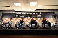 SÃO PAULO, SP, 03 DE MAIO DE 2013 - COLETIVA DE PILOTOS FORMULA INDY: Pilotos Takuma Sato (e), James Hinchcliffe, Ryan Hunter-Reay e Will Power (d) durante coletiva realizada na sala de imprensa do circuito de rua do Anhembi, zona norte de São Paulo, onde acontece neste final de semana a SP Indy 300. FOTO: LEVI BIANCO - BRAZIL PHOTO PRESS