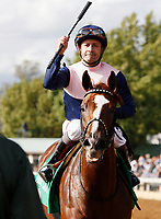"LEXINGTON, KY - October 7, 2017.  #5 Zipessa and jockey Joe Bravo win the 20th running of the First Lady, Grade 1 $400,000 ""Win and You're In Breeders' Cup Filly & Mare Turf"" for owner Empyrean Stables (Patrick Gallagher) and trainer Michael Stidham at Keeneland Race Course.  Lexington, Kentucky. (Photo by Candice Chavez/Eclipse Sportswire/Getty Images)"