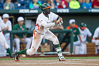 Miami Hurricanes outfielder Jacob Heyward (24) squares to bunt during the NCAA College baseball World Series against the Arkansas Razorbacks  on June 15, 2015 at TD Ameritrade Park in Omaha, Nebraska. Miami beat Arkansas 4-3. (Andrew Woolley/Four Seam Images)