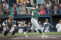 Michigan State Spartans second baseman Dan Durkin (9) follows through on his swing against the Michigan Wolverines during the NCAA baseball game on April 18, 2017 at Ray Fisher Stadium in Ann Arbor, Michigan. Michigan defeated Michigan State 12-4. (Andrew Woolley/Four Seam Images)