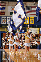 "14 November 2008:  FIU cheerleaders carry the ""PANTHERS"" flags around the court during a time-out in the second half of the FIU 57-54 victory over Eastern Kentucky at FIU Arena in Miami, Florida."
