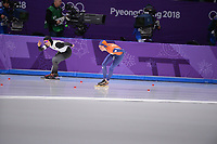 OLYMPIC GAMES: PYEONGCHANG: 16-02-2018, Gangneung Oval, Long Track, 5.000m Ladies, Misaki Oshigiri (JPN), Esmee Visser (NED), ©photo Martin de Jong