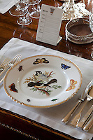 Detail of an antique plate painted with birds, butterflies and beetles
