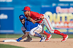 6 March 2019: Toronto Blue Jays outfielder Jonathan Davis is out at second on a fielder's choice play in the 7th inning of a Spring Training game against the Philadelphia Phillies at Dunedin Stadium in Dunedin, Florida. The Blue Jays defeated the Phillies 9-7 in Grapefruit League play. Mandatory Credit: Ed Wolfstein Photo *** RAW (NEF) Image File Available ***