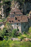 Europe/France/Midi-Pyrénées/46/Lot/Rocamadour: Détail maisons quercynoises du bas du village