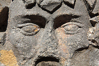 Detail of one of the masks carved on the sides of Big Onofrio's fountain, built 1438-40 by Onofrio della Cava, a 16-sided structure with cupola by Petar Martinov, at the end of a city aqueduct used to collect rainwater from the rooftops, on Poljana Paskoja Milicevica, in front of the Holy Saviour Church, Old Town, Dubrovnik, Croatia. The city developed as an important port in the 15th and 16th centuries and has had a multicultural history, allied to the Romans, Ostrogoths, Byzantines, Ancona, Hungary and the Ottomans. In 1979 the city was listed as a UNESCO World Heritage Site. Picture by Manuel Cohen