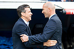 Real Madrid coach Zinedine Zidane and Celta de Vigo coach Juan Carlos Unzue during La Liga match between Real Madrid and Celta de Vigo at Santiago Bernabeu Stadium in Madrid, Spain. May 12, 2018. (ALTERPHOTOS/Borja B.Hojas)