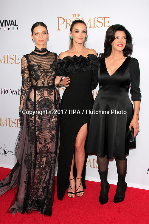 "LOS ANGELES - APR 12:  Angela Sarafyan, Charlotte Le Bon, Shohreh Aghdashloo at the ""The Promise"" Premiere at the TCL Chinese Theater IMAX on April 12, 2017 in Los Angeles, CA"