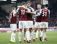 Burnley's Chris Wood celebrates with team-mate James Tarkowski after scoring the winning goal from the penalty spot<br /> <br /> Photographer Rich Linley/CameraSport<br /> <br /> Emirates FA Cup Third Round - Burnley v Barnsley - Saturday 5th January 2019 - Turf Moor - Burnley<br />  <br /> World Copyright &copy; 2019 CameraSport. All rights reserved. 43 Linden Ave. Countesthorpe. Leicester. England. LE8 5PG - Tel: +44 (0) 116 277 4147 - admin@camerasport.com - www.camerasport.com