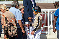CERRITOS, CA  JULY 24:  Drayden Van Dyke, receives congratulations after riding #4 Marley's Freedom to win the Great Lady M Stakes (Grade ll), on July 7, 2018, at Los Alamitos Race Course in Cerritos, CA. (Photo by Casey Phillips/Eclipse Sportswire/Getty Images)