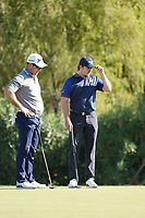 Ryan Fox (NZL) and Eddie Pepperell (ENG) on the 8th green during Round 1 of the Portugal Masters, Dom Pedro Victoria Golf Course, Vilamoura, Vilamoura, Portugal, 24/10/2019<br /> Picture Andy Crook / Golffile.ie<br /> <br /> All photo usage must carry mandatory copyright credit (© Golffile | Andy Crook)