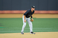 Wake Forest Demon Deacons shortstop Bruce Steel (17) on defense against the West Virginia Mountaineers in Game Six of the Winston-Salem Regional in the 2017 College World Series at David F. Couch Ballpark on June 4, 2017 in Winston-Salem, North Carolina.  The Demon Deacons defeated the Mountaineers 12-8.  (Brian Westerholt/Four Seam Images)