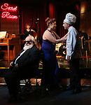"Cassie Nadeau, John Guild and Eddie Varley during the Epress preview for ""Truffles: Music! Mushroom Murder!!!"" at Secret Room on November 15, 2019 in New York City."