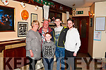 Ringing in the New Year at the Ploughman bar Abbeyfeale  are Denise , Timmy, Chris & Jamie McCrohan and on right is  cousin Michael Creagh all from Brosna.