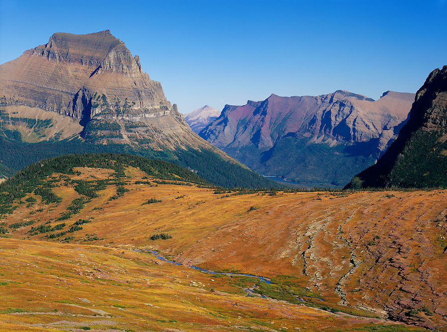 A colorful majestic view of Logan Pass in Glacier National Park, Montana.