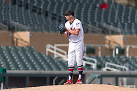 Salt River Rafters relief pitcher Devin Smeltzer (41), of the Minnesota Twins organization, looks in for the sign during an Arizona Fall League game against the Surprise Saguaros at Salt River Fields at Talking Stick on October 23, 2018 in Scottsdale, Arizona. Salt River defeated Surprise 7-5 . (Zachary Lucy/Four Seam Images)