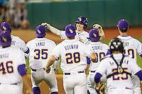 LSU Tigers infielder Danny Zardon (27) celebrates driving in the winning run after the Southeastern Conference baseball game against the Texas A&M Aggies on April 23, 2015 at Alex Box Stadium in Baton Rouge, Louisiana. LSU defeated Texas A&M 4-3. (Andrew Woolley/Four Seam Images)