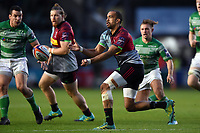 Aaron Morris of Harlequins passes the ball. Premiership Rugby Cup match, between Harlequins and Newcastle Falcons on November 4, 2018 at the Twickenham Stoop in London, England. Photo by: Patrick Khachfe / JMP