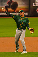 Beloit Snappers shortstop Edwin Diaz (12) during a Midwest League game against the Wisconsin Timber Rattlers on August 30, 2017 at Fox Cities Stadium in Appleton, Wisconsin. Wisconsin defeated Beloit 4-0. (Brad Krause/Four Seam Images)