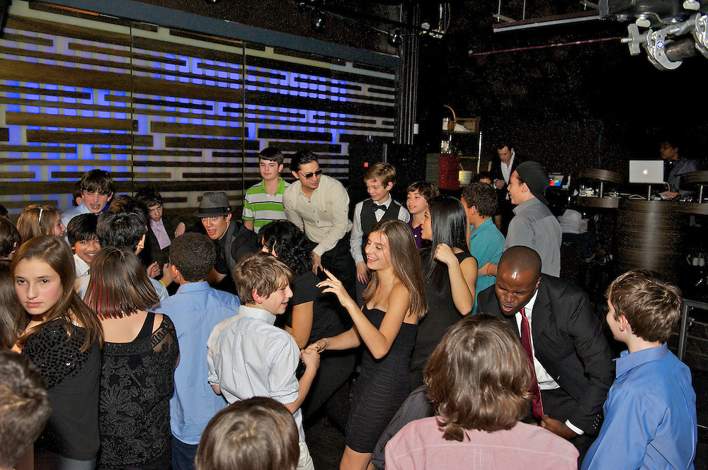 The dance floor at a Bar Mitzvah at Slate NY in the Flatiron district.