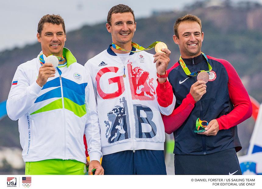 Finn SLO Vasilij Zbogar SLOVZ Silver<br /> Finn GBR Giles Scott GBRGS20 Gold<br /> Finn USA Caleb Paine USACP65 Bronze<br /> <br /> 2016 Olympic Games <br /> Rio de Janeiro