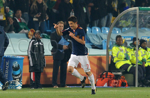 David Villa of Spain celebrates after scoring the 1-0 lead during the FIFA World Cup 2010 group H match between Chile and Spain at the Loftus Versfeld Stadium in Pretoria, South Africa 25 June 2010.