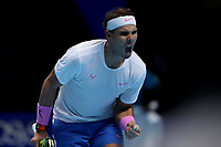 15th November 2019; 02 Arena. London, England; Nitto ATP Tennis Finals; Rafael Nadal (Spain) celebrates as he breaks Stefanos Tsitsipas (Greece) serve in the second set - Editorial Use