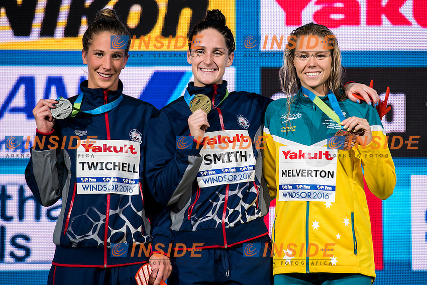 SMITH Leah USA Gold Medal<br /> TWICHELL Ashley Usa Silver Medal<br /> MELVERTON Kiah AUS Bronze Medal<br /> Women's 800m Freestyle<br /> 13th Fina World Swimming Championships 25m <br /> Windsor  Dec. 8th, 2016 - Day03 Finals<br /> WFCU Centre - Windsor Ontario Canada CAN <br /> 20161208 WFCU Centre - Windsor Ontario Canada CAN <br /> Photo &copy; Giorgio Scala/Deepbluemedia/Insidefoto