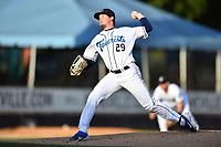 Asheville Tourists starting pitcher Nick Bush (29) delivers a pitch during a game against the Lakewood BlueClaws at McCormick Field on August 5, 2019 in Asheville, North Carolina. The BlueClaws defeated the Tourists 4-2. (Tony Farlow/Four Seam Images)