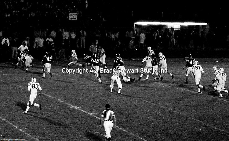 Bethel Park PA:  Offensive play with Mike Stewart 11 running the option with Clark Miller 30 and a great block by Dennis Franks 66 - 1970.  Others in the photo; Bruce Evanovich 80, Don Troup 51, Joe Barrett 75, Gary Biro 81, Jim Dingeldine. After Scott Streiner was injuried on the first play, the team rallied and came up just short of winning the game when they missed a two-point conversion late in the 4th quarter (7-6).