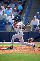 Detroit Tigers center fielder Jose Azocar (31) at bat during a Spring Training game against the New York Yankees on March 2, 2016 at George M. Steinbrenner Field in Tampa, Florida.  New York defeated Detroit 10-9.  (Mike Janes/Four Seam Images)