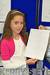 Winners of the Kerry county library writing competition Elaina Norris, Firies NS, .