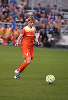 Kansas City, MO - Saturday May 07, 2016: Houston Dash defender Rebecca Moros (4) against FC Kansas City during a regular season National Women's Soccer League (NWSL) match at Swope Soccer Village. Houston won 2-1.