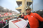 Vincenzo Nibali (ITA) Bahrain-Merida at sign on before the the start of Stage 4 Yas Island Stage of the 2017 Abu Dhabi Tour, 143km with 26 laps of 5.5km of the Yas Marina Circuit, Abu Dhabi. 26th February 2017.<br /> Picture: ANSA/Claudio Peri | Newsfile<br /> <br /> <br /> All photos usage must carry mandatory copyright credit (&copy; Newsfile | ANSA)