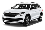 2019 Skoda Kodiaq Sportline 5 Door SUV Angular Front stock photos of front three quarter view