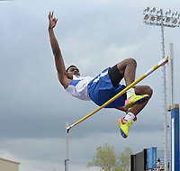 NWA Democrat-Gazette/BEN GOFF @NWABENGOFF<br /> Marquise Pleasant of Conway clears the bar at 6 feet, 2 inches, good for second place, in the boys high jump Thursday, April 20, 2017, during the McDonald Relays at Fort Smith Southside.