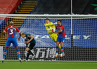 29th June 2020; Selhurst Park, London, England; English Premier League Football, Crystal Palace versus Burnley Football Club; Goalkeeper Nick Pope of Burnley punches the ball out past Scott Dann of Crystal Palace