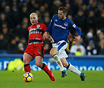 Aaron Mooy of Huddersfield Town tackled by Gylfi Sigurdsson of Everton during the premier league match at the Goodison Park Stadium, Liverpool. Picture date 2nd December 2017. Picture credit should read: Simon Bellis/Sportimage