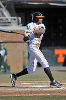 Tennessee Volunteers center fielder Vincent Jackson #40 swings at a pitch during a game against the UNLV Runnin' Rebels at Lindsey Nelson Stadium on February 22, 2014 in Knoxville, Tennessee. The Volunteers defeated the Rebels 5-4. (Tony Farlow/Four Seam Images)