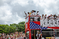 Chris Bosh with trophy at Miami Heat NBA 2013 Championship parade, Biscayne Boulevard, American Airlines Arena, Miami, FL, June 24, 2013