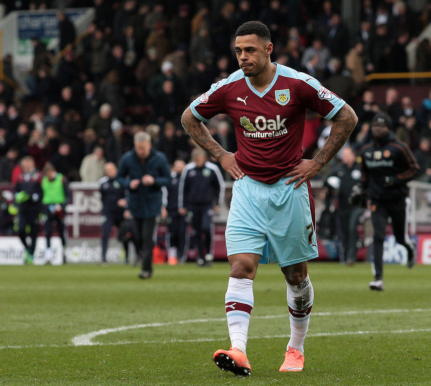 Burnley's Andre Gray shows his frustration at the end of the first half<br /> <br /> Photographer David Shipman/CameraSport<br /> <br /> Football - The Football League Sky Bet Championship - Burnley v Wolverhampton Wanderers - Saturday 19th March 2016 - Turf Moor - Burnley<br /> <br /> &copy; CameraSport - 43 Linden Ave. Countesthorpe. Leicester. England. LE8 5PG - Tel: +44 (0) 116 277 4147 - admin@camerasport.com - www.camerasport.com