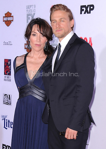 "HOLLYWOOD, CA - SEPTEMBER 6:  Katey Sagal and Charlie Hunnam at the premiere screening of FX's ""Sons of Anarchy"" at the TCL Chinese Theatre on September 6, 2014 in Hollywood, California. Credit: PGSK/MediaPunch"
