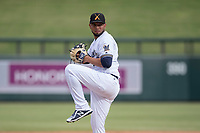 Salt River Rafters relief pitcher Jorge Ortega (52) of the Milwaukee Brewers organization, delivers a pitch to the plate during an Arizona Fall League game against the Mesa Solar Sox on October 30, 2017 at Salt River Fields at Talking Stick in Scottsdale, Arizona. The Solar Sox defeated the Rafters 8-4. (Zachary Lucy/Four Seam Images)