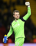 Liverpool's Simon Mignolet celebrates at the final whistle during the Premier League match at Vicarage Road Stadium, London. Picture date: May 1st, 2017. Pic credit should read: David Klein/Sportimage